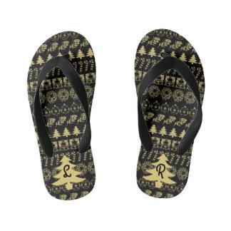 Initial - Gold/Black Christmas Fun Font Pattern Kid's Flip Flops