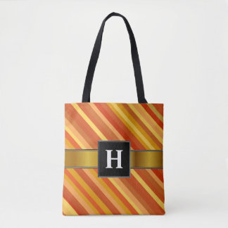Initial; Goldfish-Inspired Colored Stripes Pattern Tote Bag