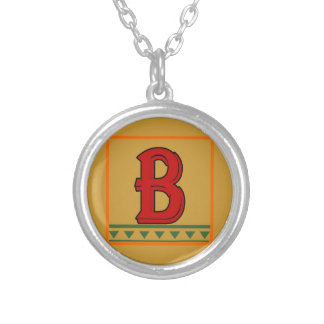 Initial, Italian Red Letter Round Pendant Necklace
