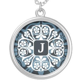 Initial J Monogram Letter Pendant Necklace