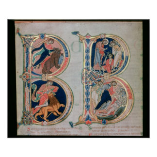 Initial letter 'B' Beatus vir - Blessed is the Print