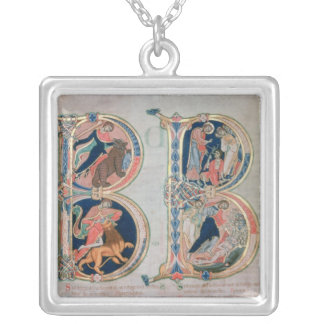 Initial letter 'B' Beatus vir - Blessed is the Silver Plated Necklace