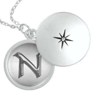 """Initial Letter """"N"""" Silver Necklace"""