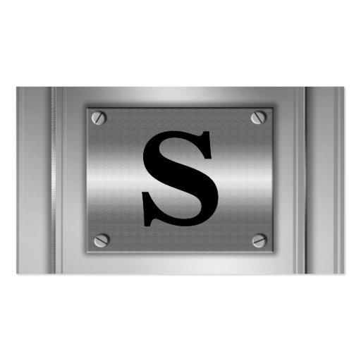 Initial Letter Silver Metal Look Business Cards