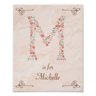 Initial M Baby Name Monogram Art Print