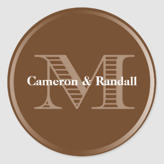 Initial M brown monogram name tag party favor Round Sticker