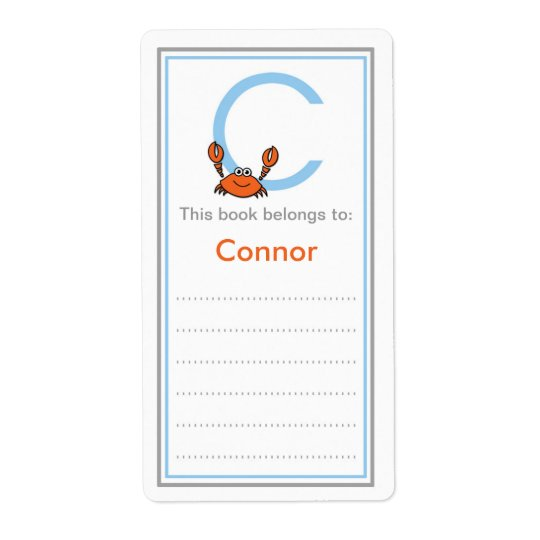 Initial Monogram C is for Crab bookplates