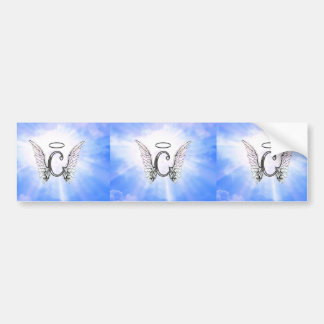 Initial Monogram C With Angel Wings, Halo Clouds Bumper Sticker