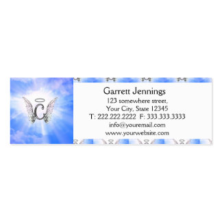 Initial Monogram C With Angel Wings, Halo Clouds Pack Of Skinny Business Cards