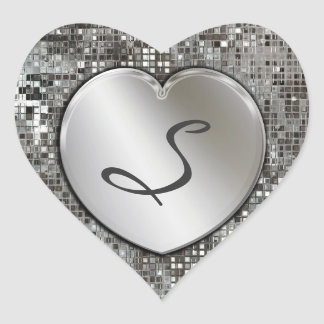 Initial Monogram Heart On Sequins Sticker