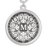Initial Monogram M Letter Pendant Necklace