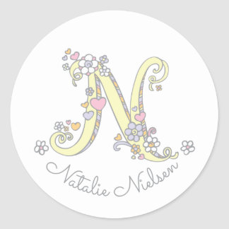 Initial monogram N custom name id name stickers
