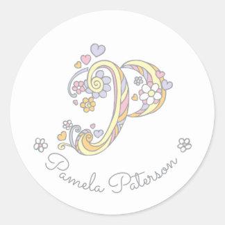 Initial monogram P custom name id name stickers