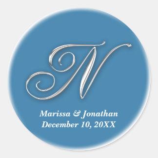 Initial N blue monogram custom name favor seal Sticker