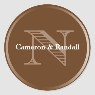Initial N brown monogram name tag party favor Round Sticker