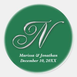 Initial N green monogram custom name favor seal Stickers