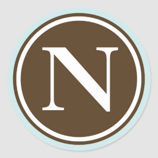 Initial N monogram circle letter seal party favor