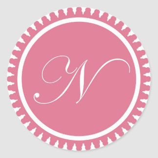 Initial N princess pink monogram seal party favor Round Sticker