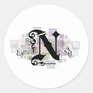Initial N Round Sticker