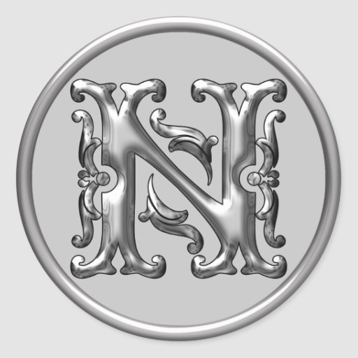 Initial N Round Sticker in silver