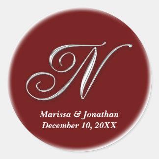Initial N wine red monogram custom name favor seal Round Sticker