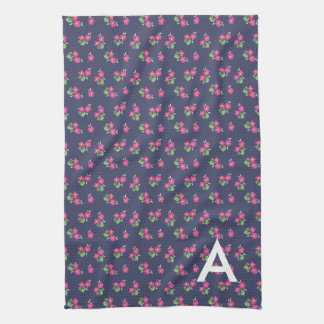 Initial Navy Floral Personalized Towel