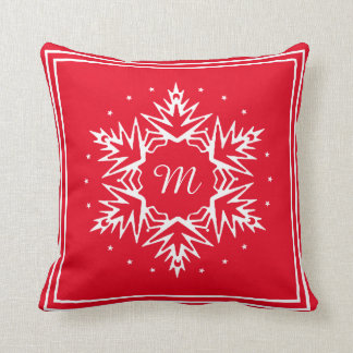Initial New Year Snowflake Cushion