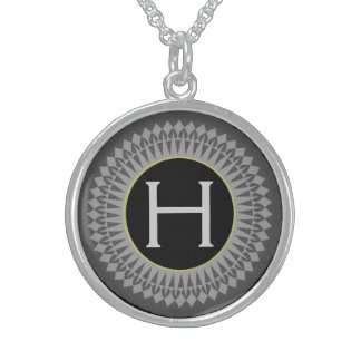 Initial on Black with Silver Grey Necklace Pendant