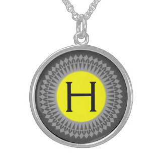 Initial on Yellow with Silver Grey Necklace