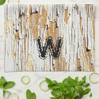 Initial: Peeling Paint  on Aged Wood  Photography Tea Towel