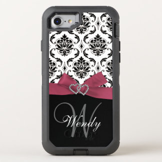 Initial, Pink, Black Damask Pattern OtterBox Defender iPhone 8/7 Case