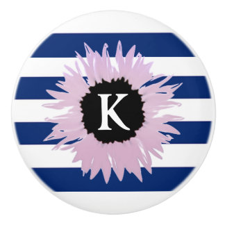 Initial Pink Flower Ceramic Knob