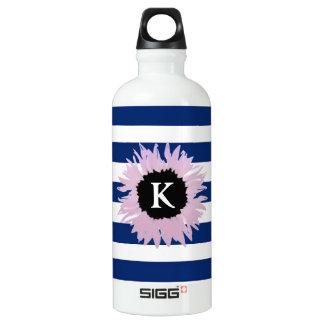 Initial Pink Flower Water Bottle