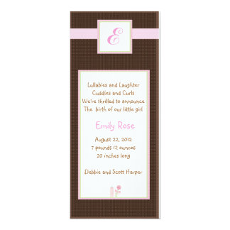 Initial Pink 4x9.25 Paper Invitation Card