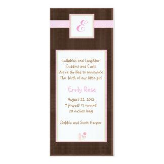 Initial Pink 4x9.25 Paper Invitation Card