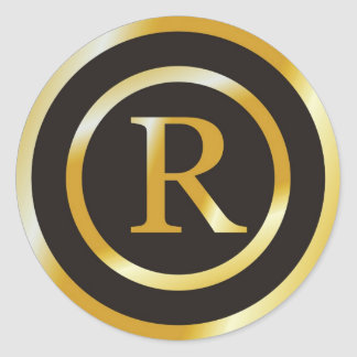Initial R Gold Monogram Wedding  Stickers
