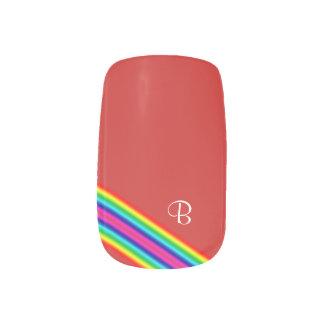 Initial Rainbow Red Yellow Green Pink Blue Stripes Minx Nail Art