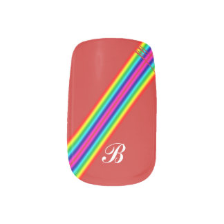 Initial Rainbow Red Yellow Pink Template Stripes Minx Nail Art