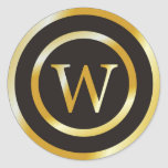 Initial W Gold Monogram Wedding  Stickers