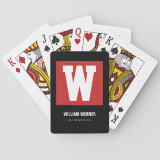 initial W, name + text, personal color red Playing Cards