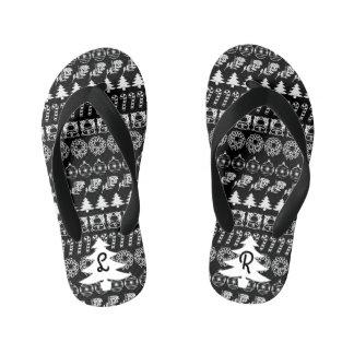 Initial - White/Black Christmas Fun Font Pattern Kid's Flip Flops