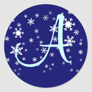 Initial with Snowflakes Round Sticker