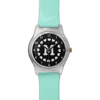 Initialed watch for women with heart monogram