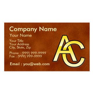 initiales A et C en or sur fond de cuir Cartes De Visite Professionnelles