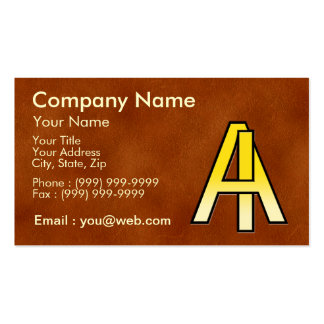 initiales A et I en or sur fond de cuir Cartes De Visite Personnelles