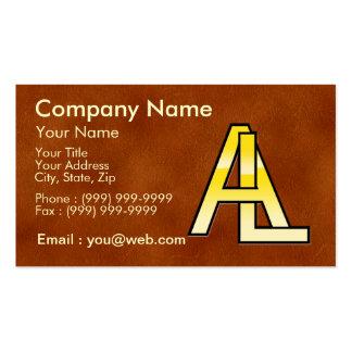 initiales A et L en or sur fond de cuir Modèle De Carte De Visite