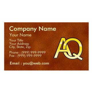 initiales A et Q en or sur fond de cuir Cartes De Visite Personnelles