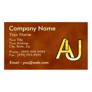 initiales A et U en or sur fond de cuir Modèle De Carte De Visite