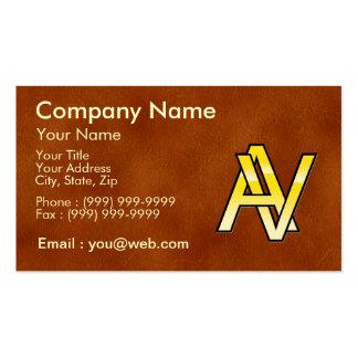 initiales A et V en or sur fond de cuir Modèles De Cartes De Visite