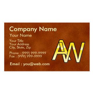 initiales A et W en or sur fond de cuir Cartes De Visite Personnelles